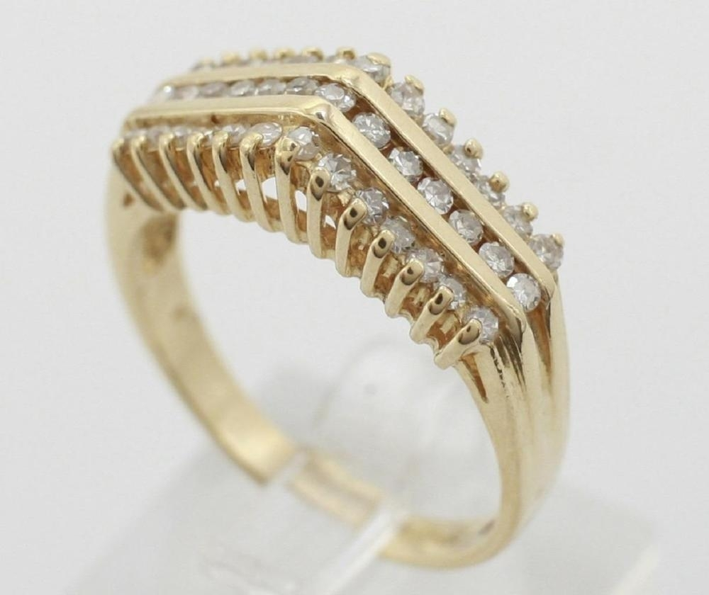 14K Yellow Gold Pyramid Three Row Cocktail Diamond Ring 0.52Ctw Size With Most Recent Emerald And Diamond Three Row Reversible Anniversary Bands In 14K Gold (Gallery 12 of 15)