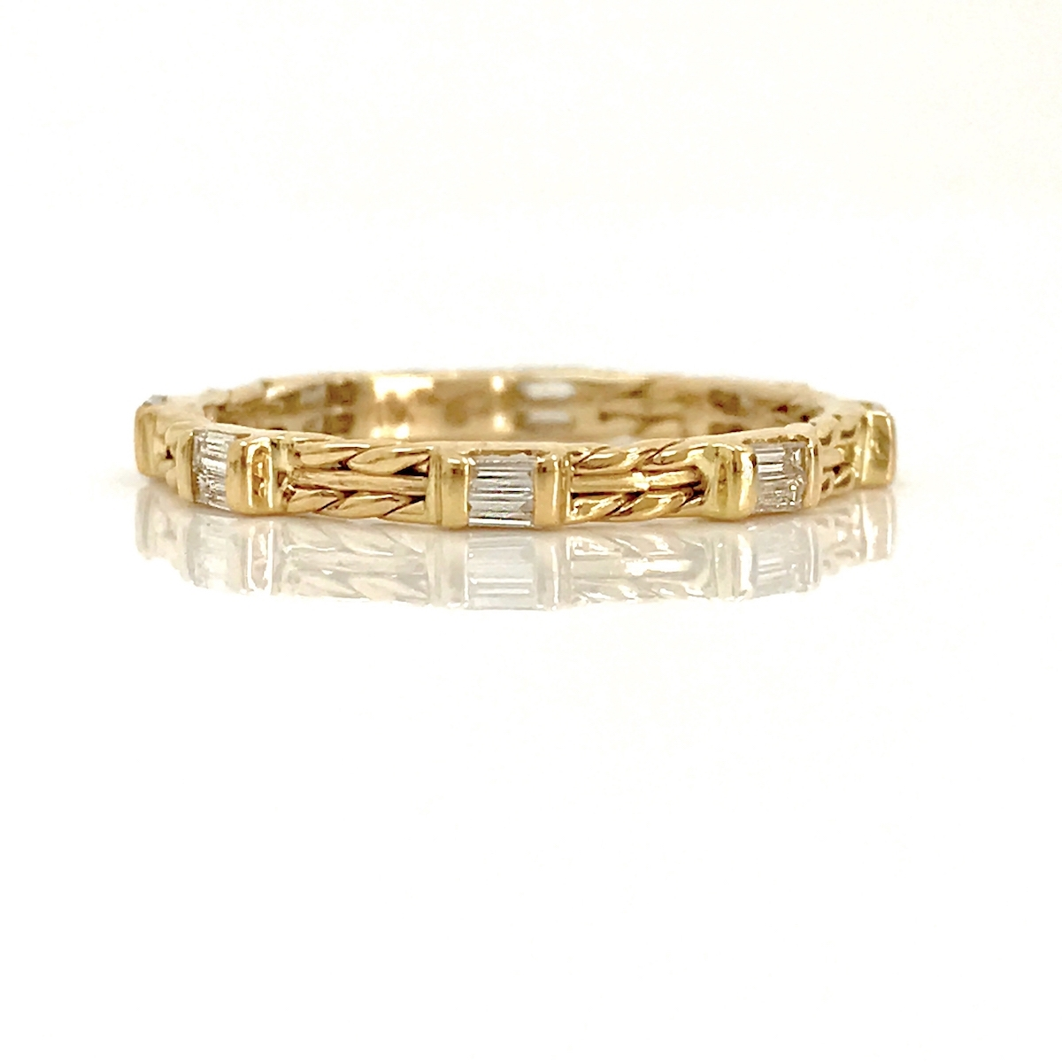 18K Gold Double Baguette Diamond Wedding Band Stacking Ring With Regard To 2018 Baguette Diamond Twist Wedding Bands (View 6 of 15)