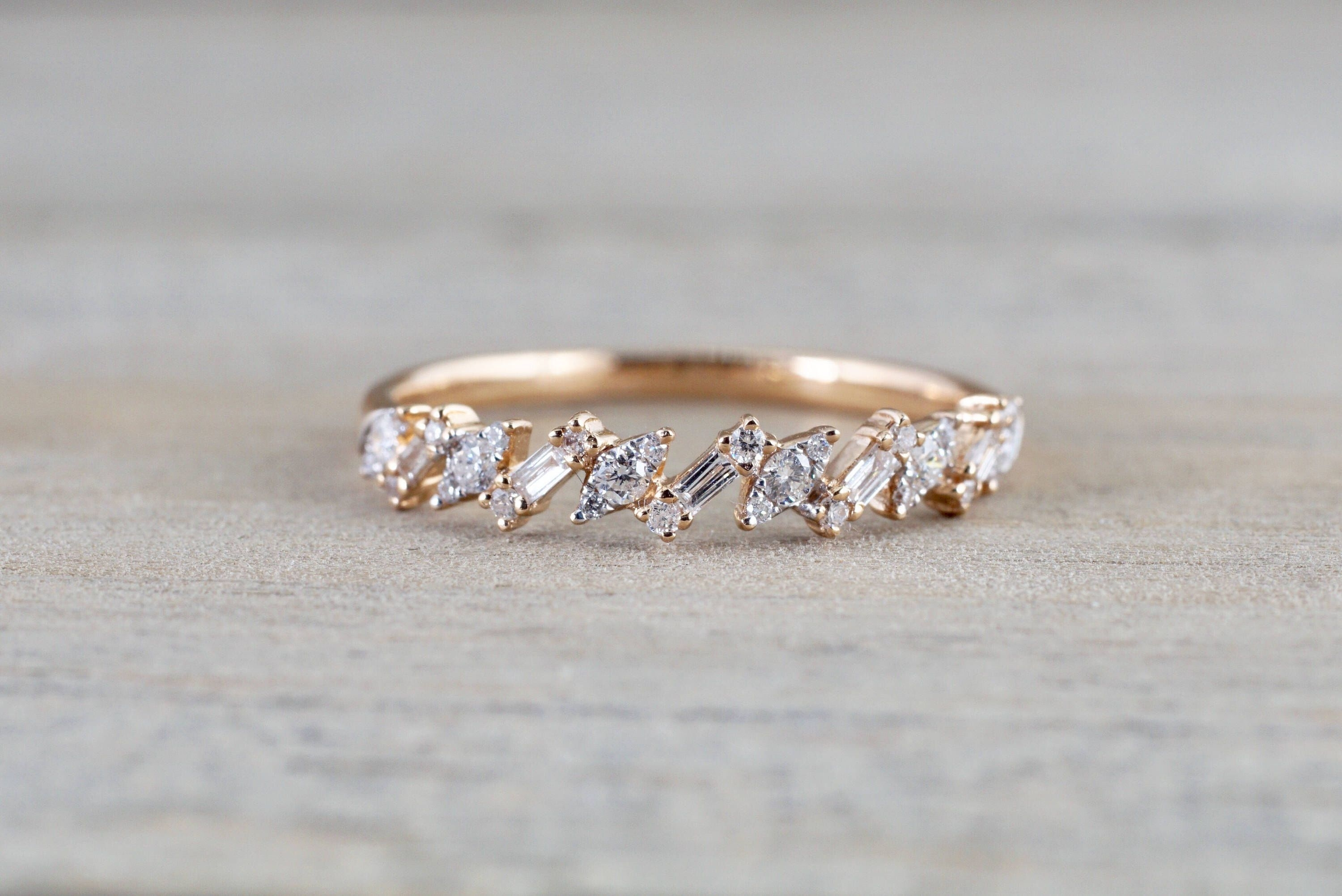 18K Rose Gold Diamond Baguette Zig Zag Wedding Anniversary Throughout Most Recently Released Diamond Zig Zag Anniversary Rings In 18K White Gold (Gallery 11 of 15)