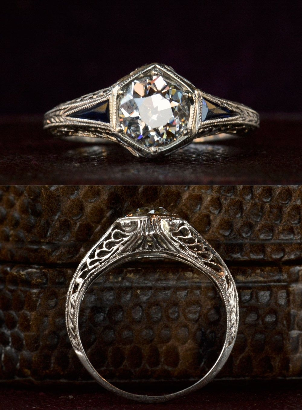 1920S Art Deco Hexagonal Filigree Engagement Ring, 0.95Ct Old Inside Most Recently Released Diamond Hexagonal Frame Vintage Style Wedding Bands (Gallery 3 of 15)