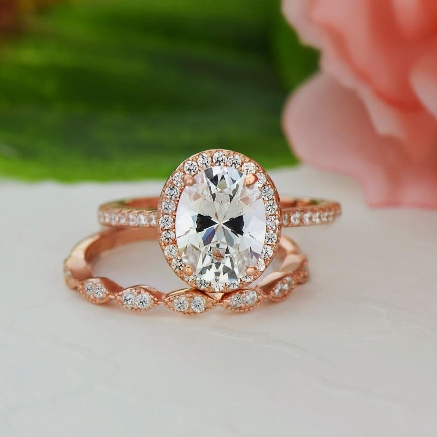 2.25 Ctw, Oval Bridal Set, Vintage Style Engagement Ring, Man Made Intended For Most Recent Diamond Art Deco Vintage Style Anniversary Bands In 10K Gold (Gallery 5 of 15)
