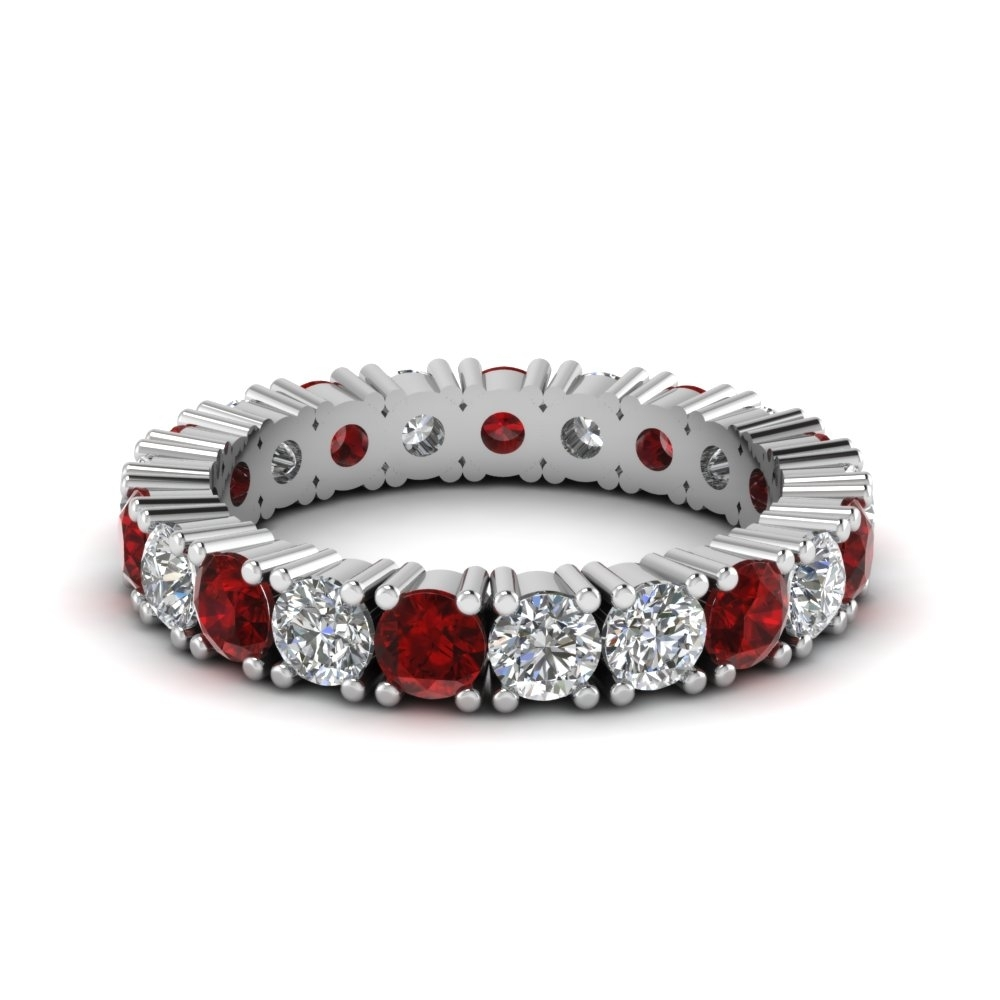 2 Carat Diamond Eternity Band With Ruby In 950 Platinum With Most Recent Ruby And Diamond Eternity Bands In Platinum (View 7 of 15)