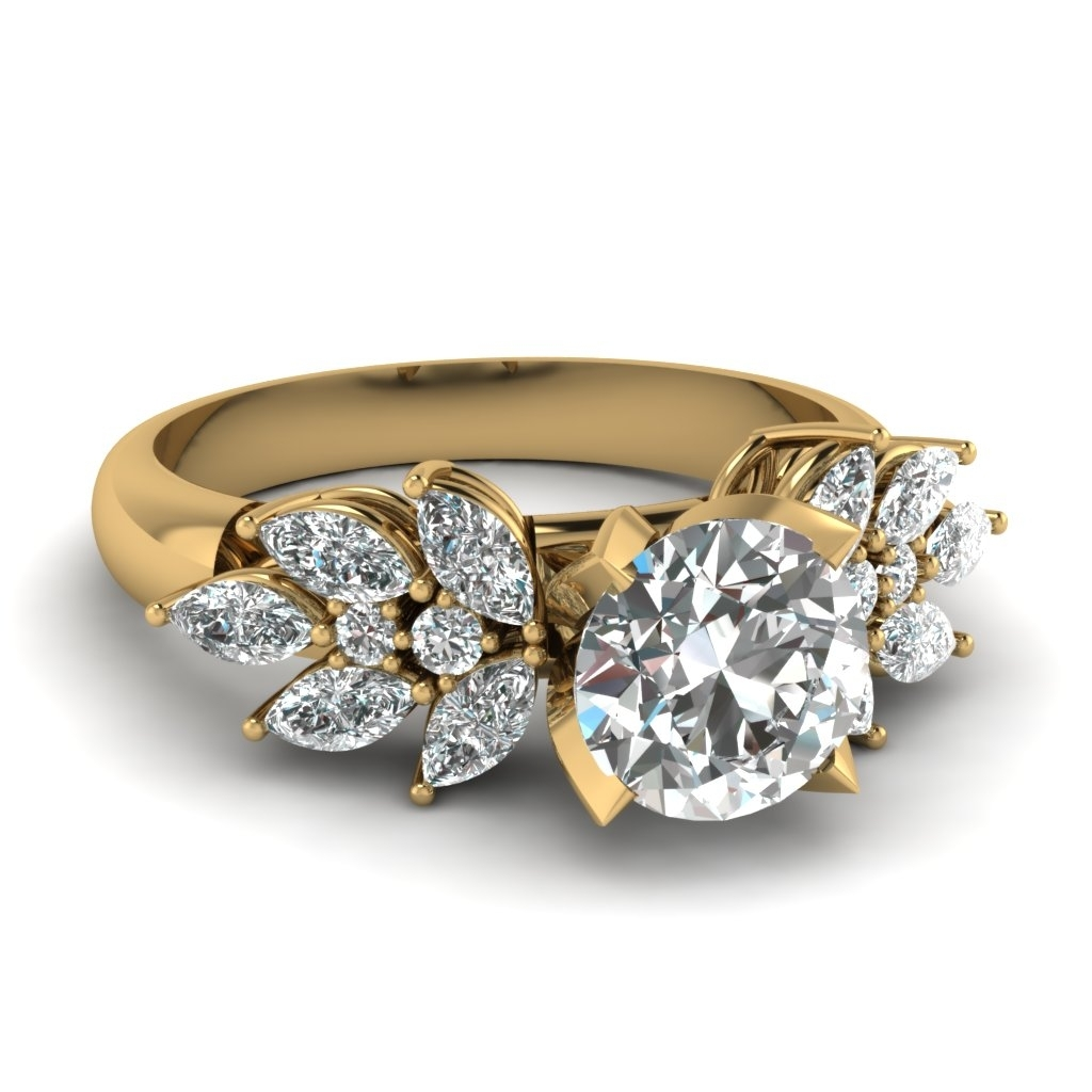 2 Carat Diamond Marquise Petal Engagement Ring In 14K Yellow Gold Inside Latest Vintage Style Yellow Gold Engagement Rings (Gallery 3 of 15)