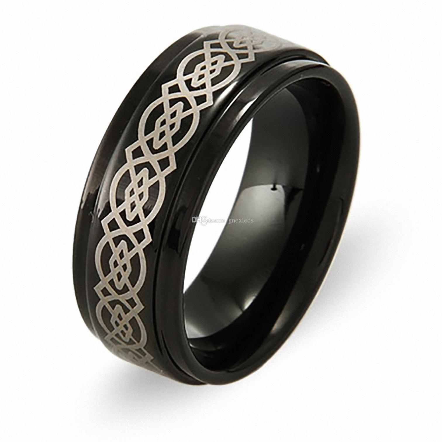 2018 Mens 8mm Irish Black Tungsten Wedding Bands Celtic Design With Regard To Most Recently Released Tungsten Wedding Bands (View 15 of 15)