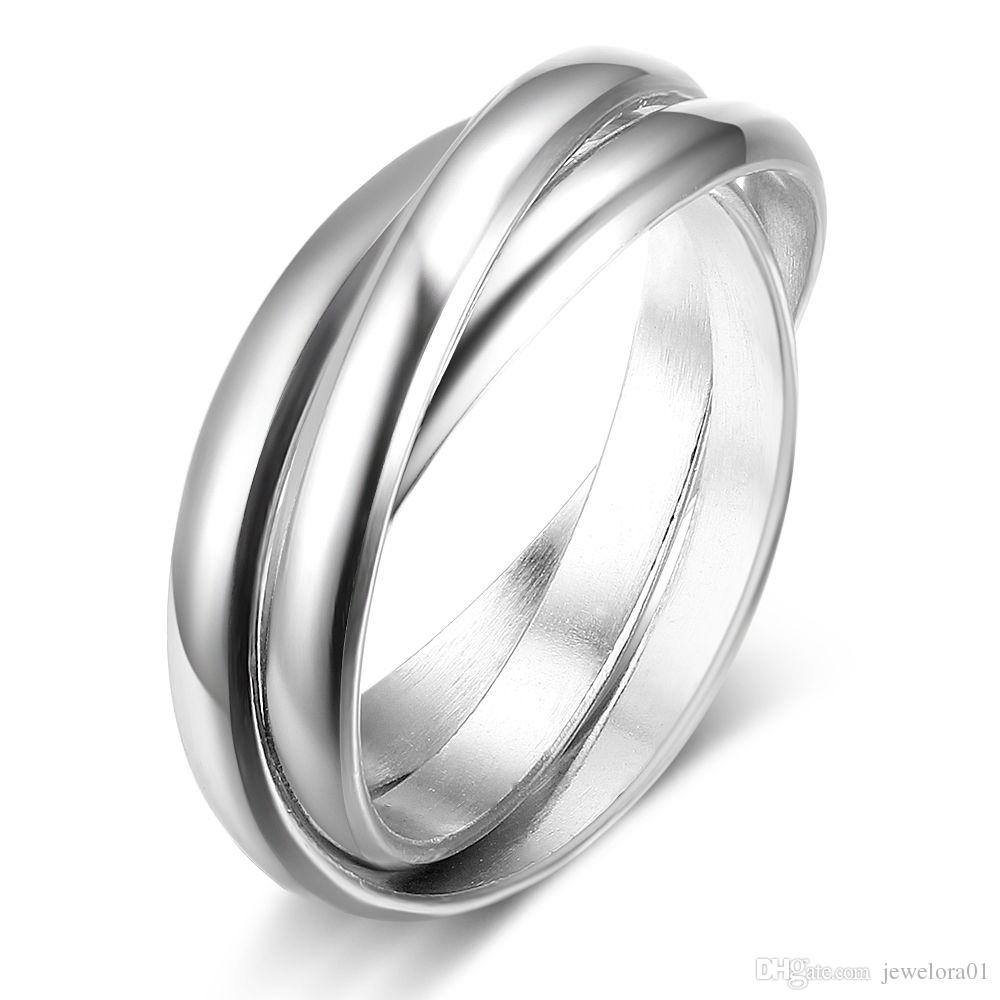 2018 Simple Triple Round Rhodium Plated 925 Sterling Silver Rings Inside Recent Diamond Wedding Bands In Sterling Silver With Rose Rhodium (View 3 of 15)