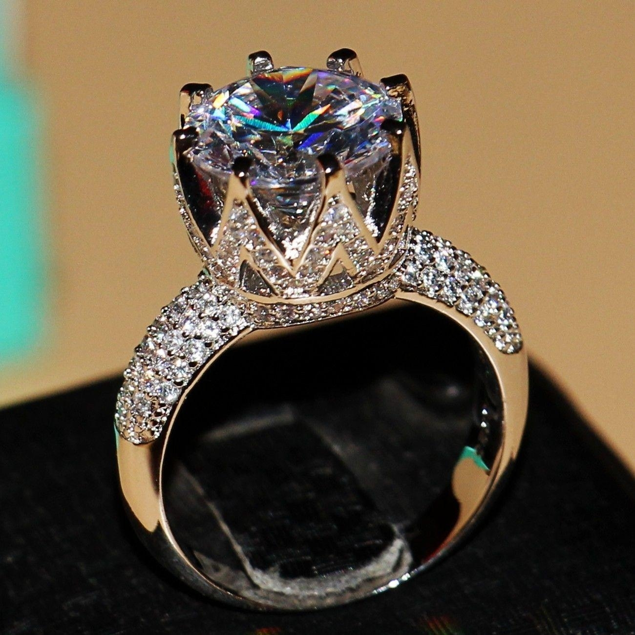 2018 Victoria Wieck 8Ct Big Stone Solitaire 925 Sterling Silver With Regard To 2017 Diamond Anniversary Bands In Sterling Silver (Gallery 12 of 15)