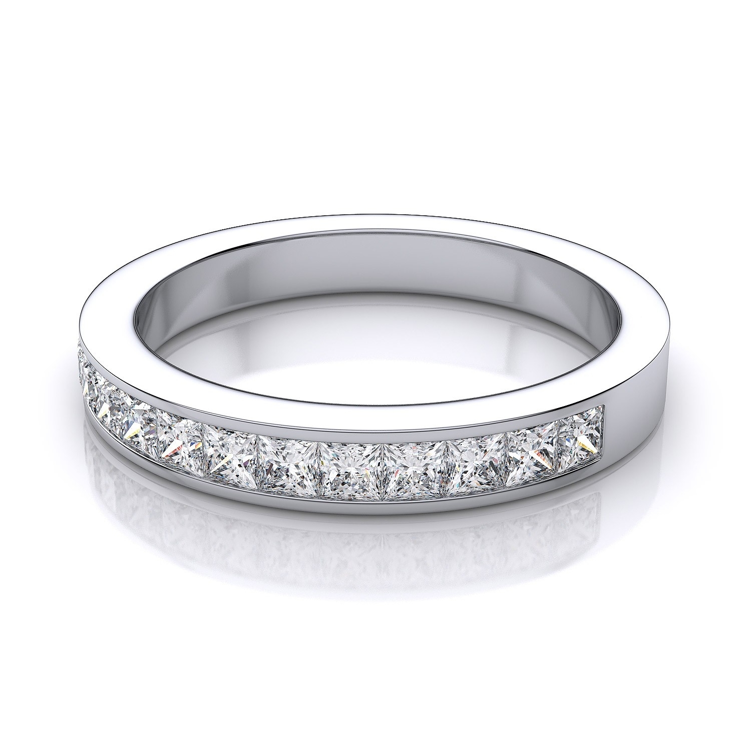 3.8Mm Invisible Set Princess Cut Diamond Anniversary Band In In 2017 Diamond Channel Set Anniversary Bands (Gallery 13 of 15)