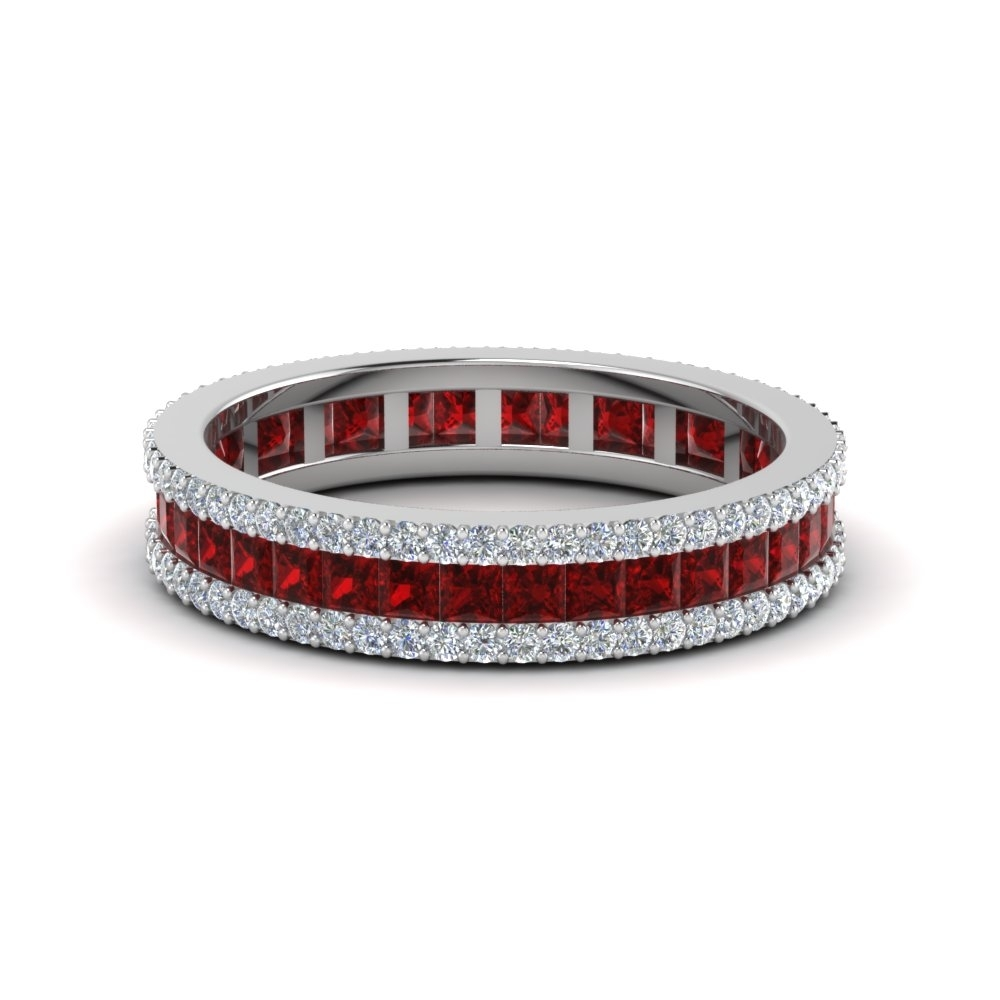 3 Row Diamond Eternity Ring With Ruby In 950 Platinum | Fascinating With Most Recent Ruby And Diamond Eternity Bands In Platinum (View 4 of 15)