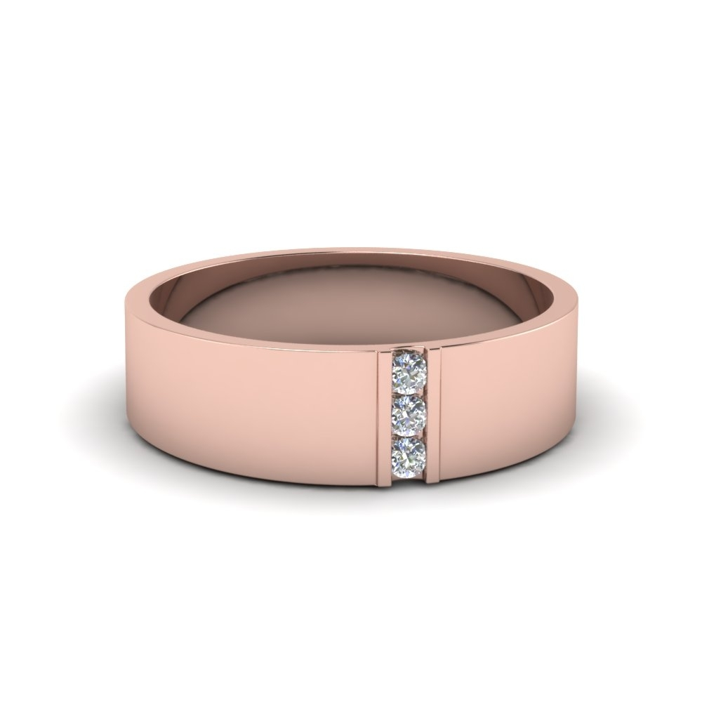 3 Stone Diamond Wedding Anniversary Band For Men In 14K Rose Gold Inside Most Recent Diamond Twist Anniversary Bands In 10K Rose Gold (View 2 of 15)