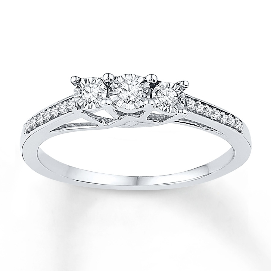 3 Stone Promise Ring 1/6 Ct Tw Diamonds Sterling Silver With Regard To Most Recent Diamond Three Stone Wedding Bands In 10K Gold (View 8 of 15)