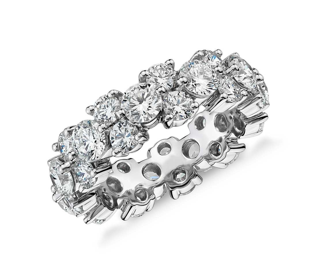 5.08 Ct. Tw. Garland Cubic Zirconia Ring In 14K White Gold Plated With Most Up To Date Diamond Four Row Anniversary Bands In Sterling Silver (Gallery 15 of 15)