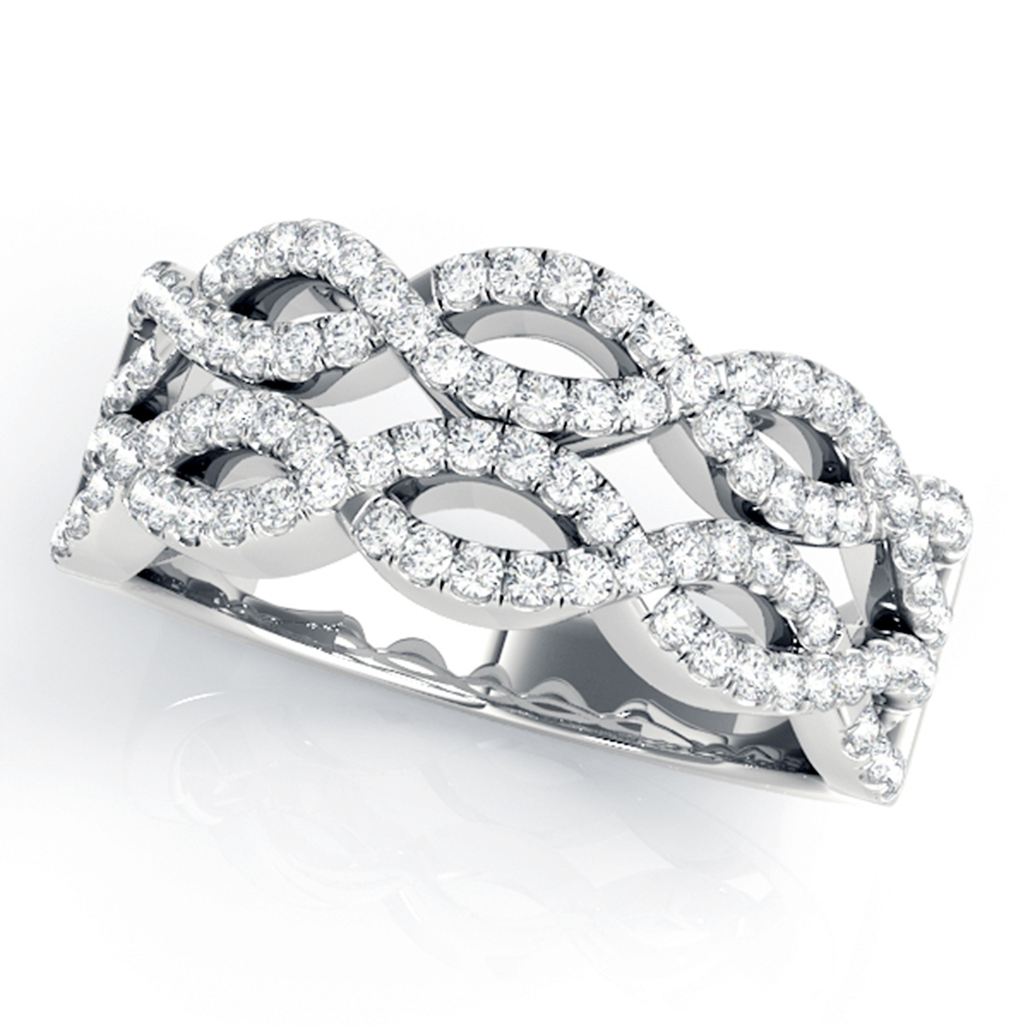 5/8 Ctw Double Row Infinity Diamond Anniversary / Wedding Band In In Latest Diamond Double Row Anniversary Bands In 14K White Gold (Gallery 14 of 15)