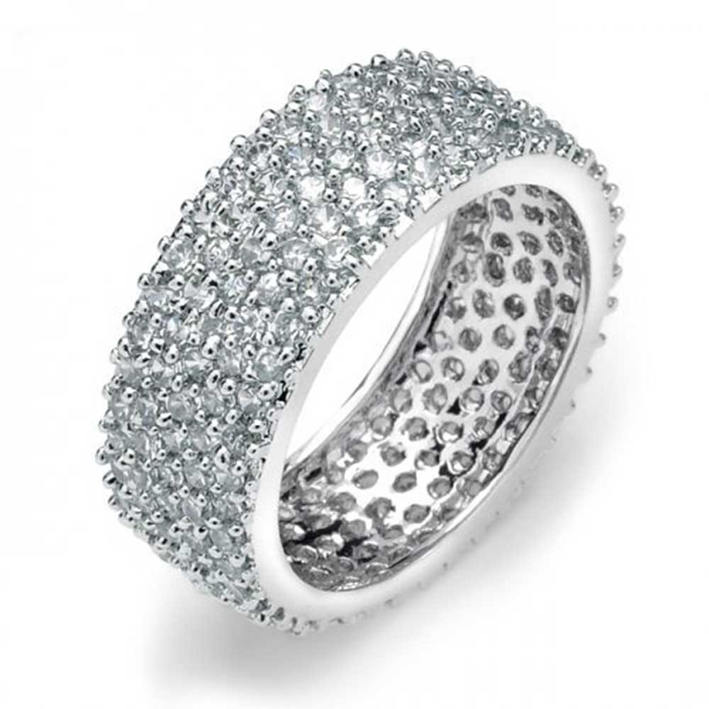 5 Row 925 Sterling Silver Micro Pave Cubic Zirconia Eternity Band Inside Most Recently Released Diamond Anniversary Bands In Sterling Silver (Gallery 5 of 15)
