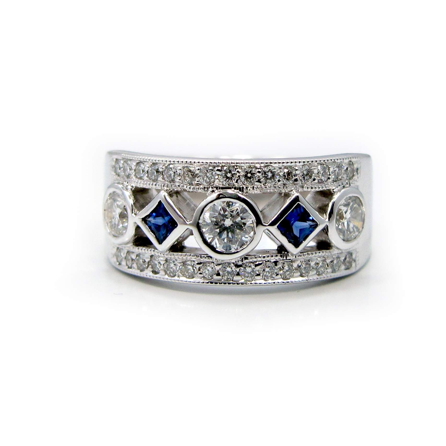 5 Stone Diamond And Princess Cut Blue Sapphire Ring | Reuven Gitter Within Newest Princess Cut Blue Sapphire And Diamond Five Stone Rings In 14k White Gold (View 4 of 15)