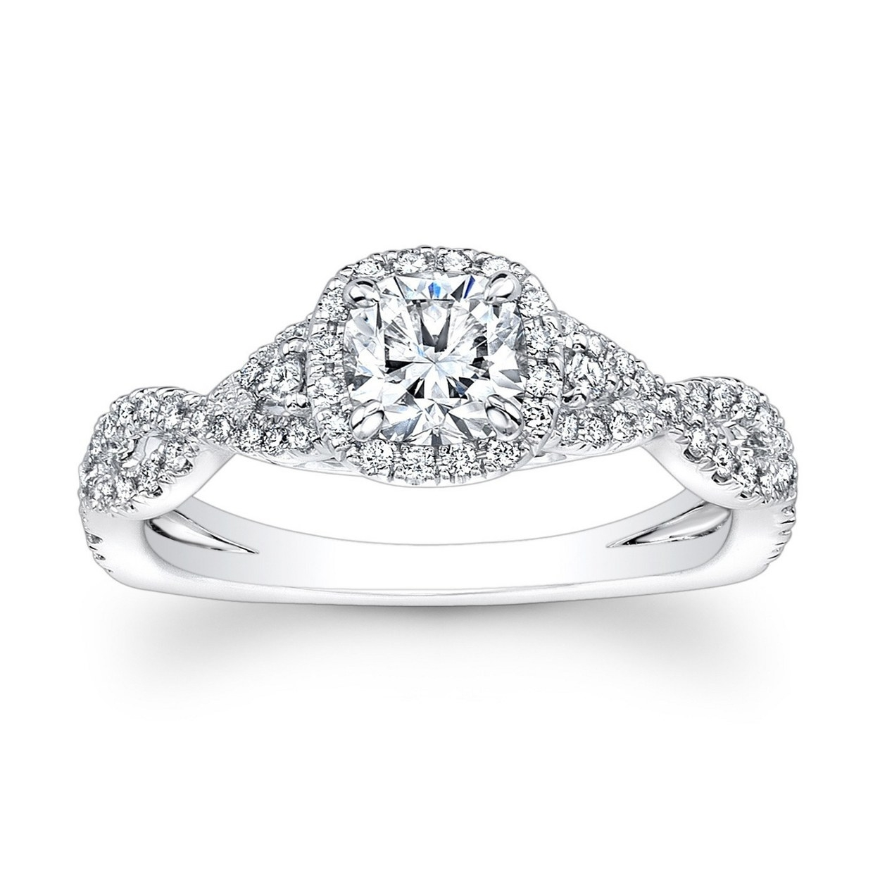 62 Diamond Engagement Rings Under $5,000 | Glamour In Latest Oval Diamond Double Frame Twist Vintage Style Bridal Rings In 14K White Gold (Gallery 14 of 15)