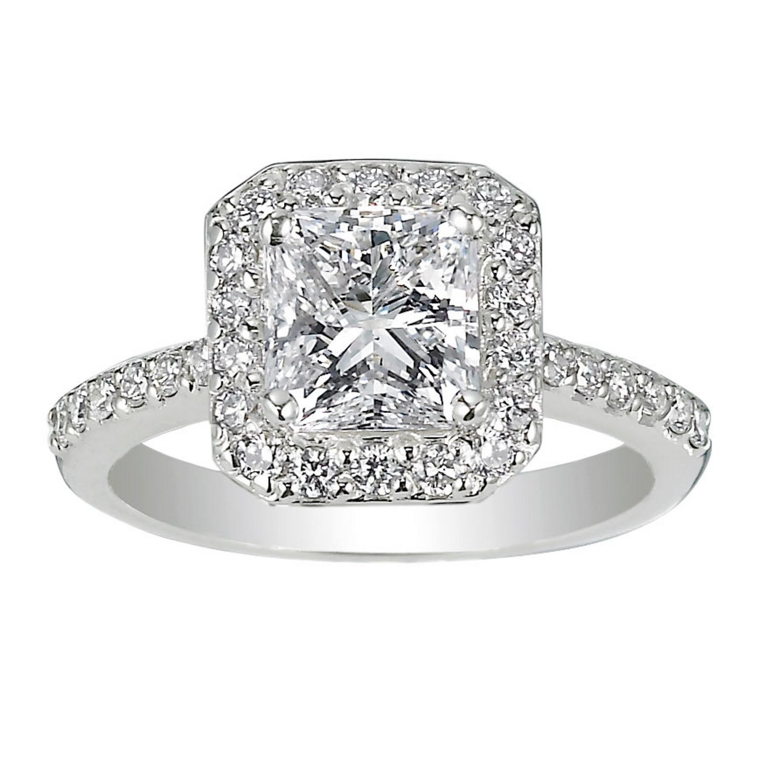 62 Diamond Engagement Rings Under $5,000 | Glamour With Most Popular Diamond Octagon Frame Vintage Style Engagement Rings In 14K White Gold (Gallery 7 of 15)
