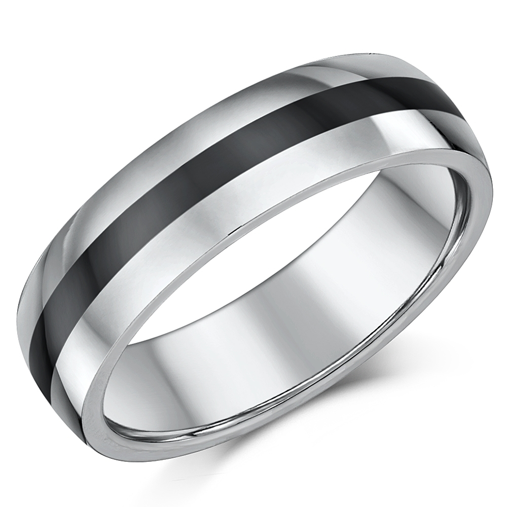 6mm Tungsten & Ceramic Wedding Ring Band – Nickel Free Tungsten At Regarding Recent White Ceramic Wedding Bands (View 4 of 15)