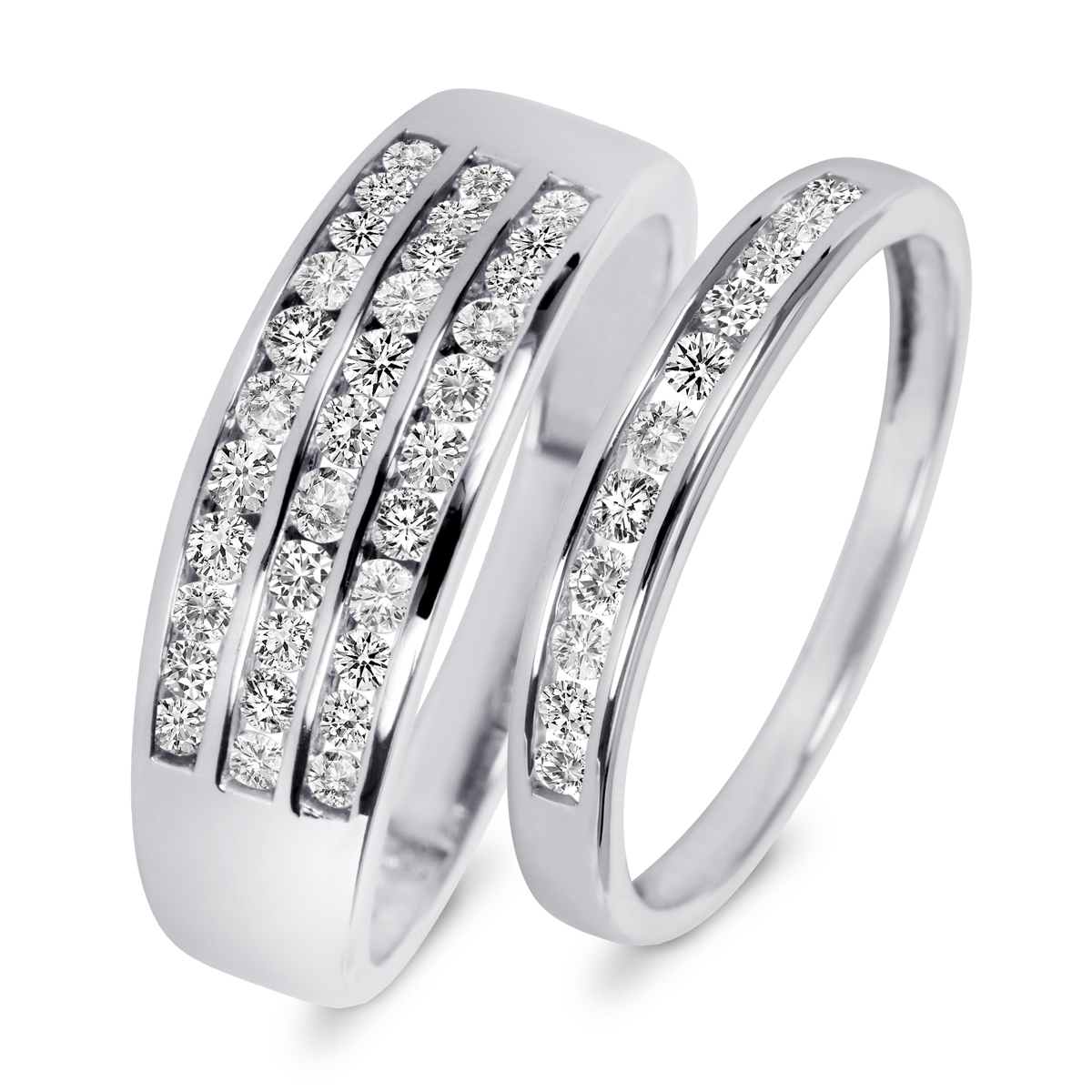 7/8 Carat T.w. Diamond His And Hers Wedding Rings 14K White Gold In Latest His And Her Wedding Bands Sets (Gallery 8 of 15)