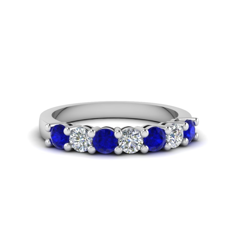 7 Stone Anniversary Diamond Band With Blue Sapphire In 14K White Regarding Most Up To Date Blue Sapphire And Diamond Seven Stone Wedding Bands In 14K Gold (Gallery 3 of 15)