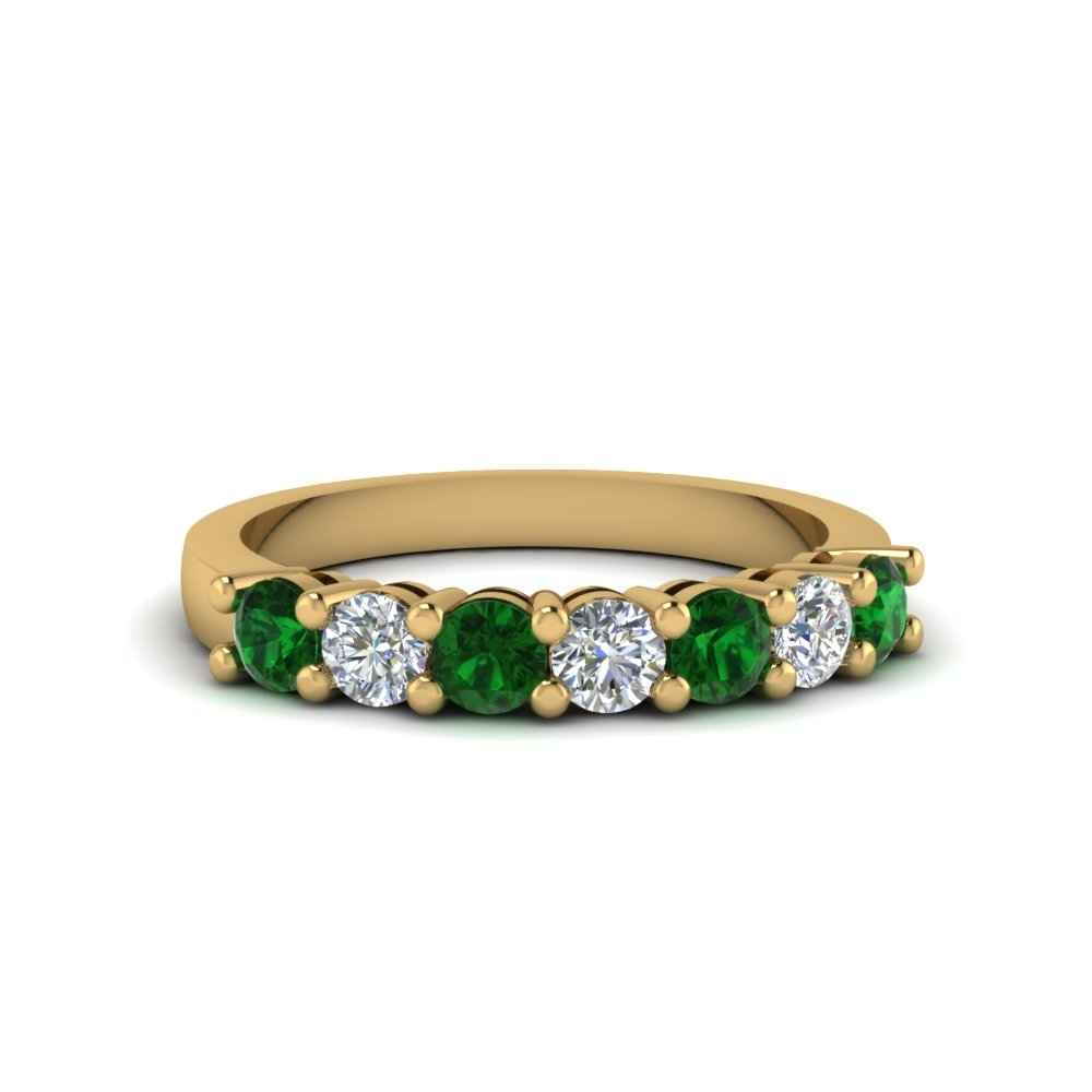 7 Stone Anniversary Diamond Band With Emerald In 14K Yellow Gold In 2017 Emerald And Diamond Seven Stone Wedding Bands In 14K Gold (Gallery 2 of 15)