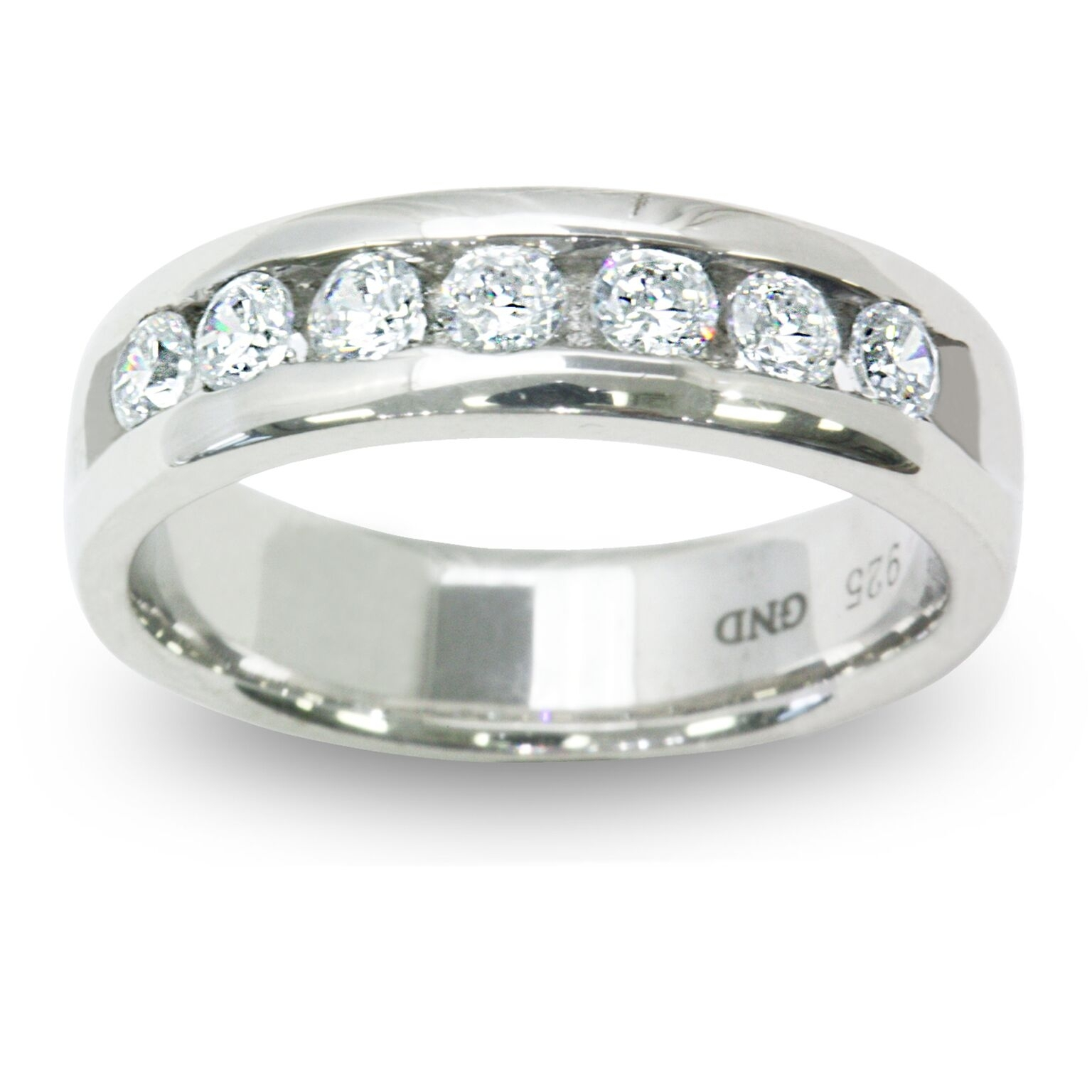 7 Stone Round Simulated Diamond Anniversary Band In Sterling Silver In Recent Diamond Anniversary Bands In Sterling Silver (Gallery 10 of 15)