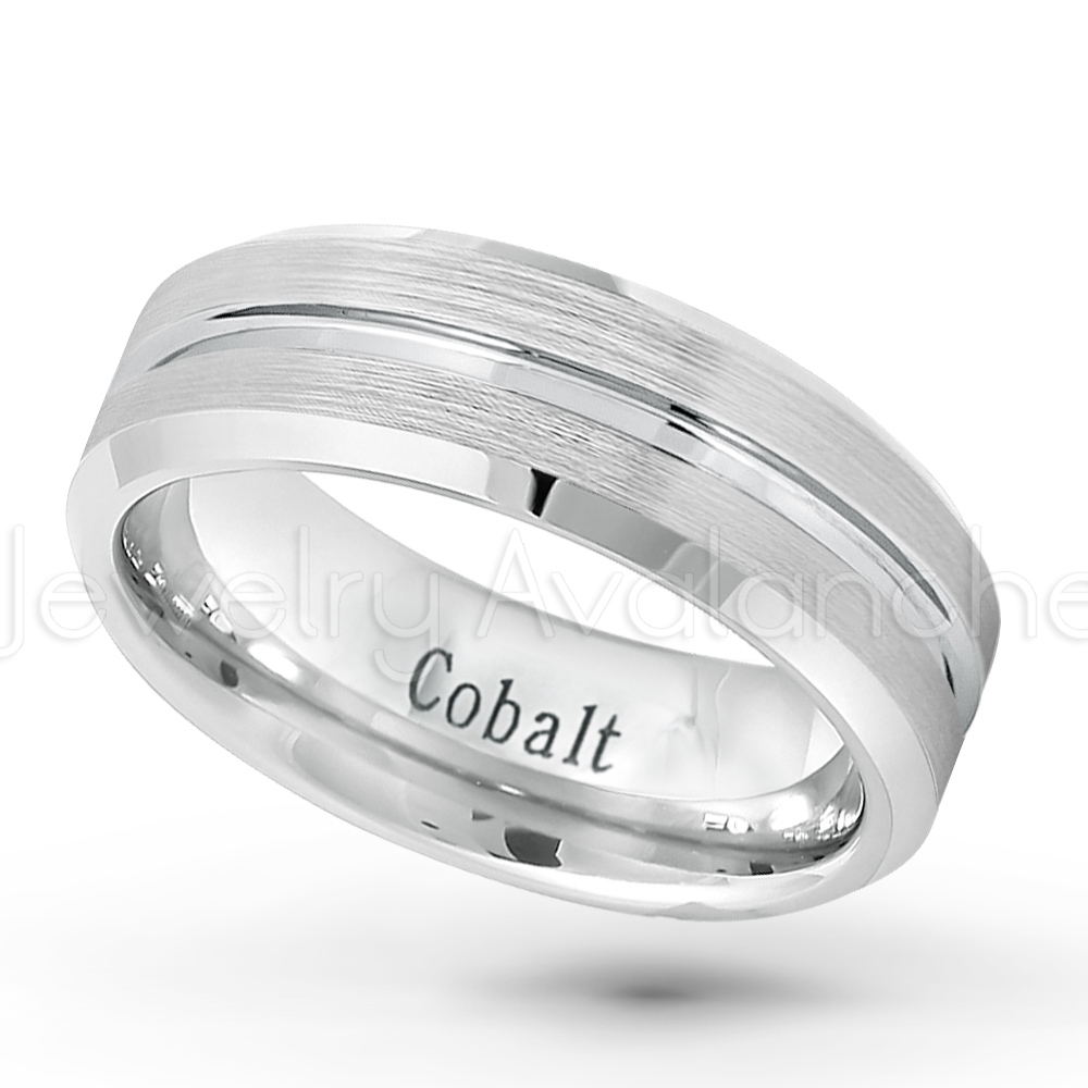 7Mm Cobalt Wedding Band – Brushed Finish Grooved Center Comfort Fit For Most Recently Released Satin Center Bevel Edged Wedding Band In Cobalt (View 2 of 15)