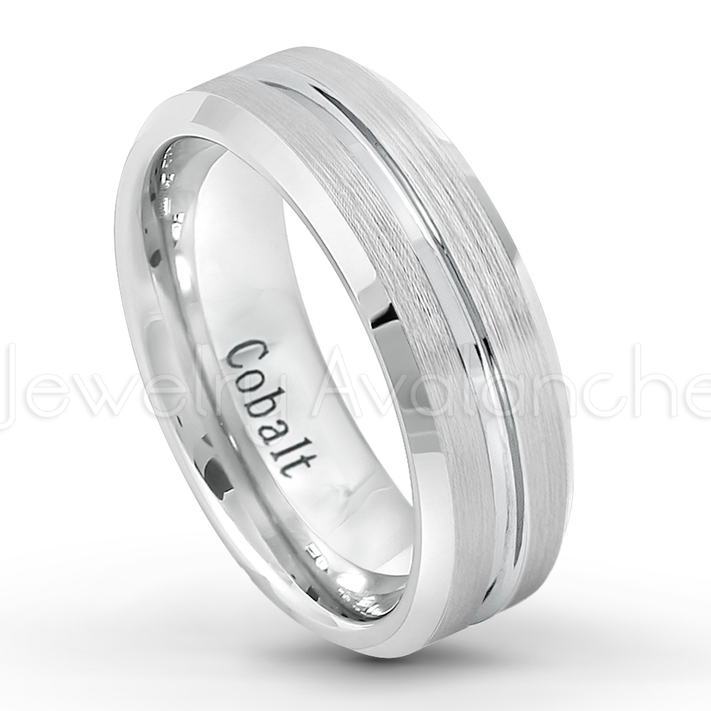 7Mm Cobalt Wedding Band – Brushed Finish Grooved Center Comfort Fit In Latest Satin Center Bevel Edged Wedding Band In Cobalt (View 3 of 15)