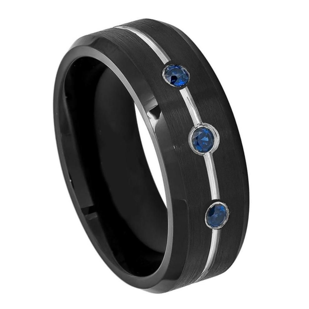 8Mm Black Ip Tungsten Ring With Three 0.07Ct Blue Sapphires On With Regard To Current Diamond Cobalt Three Stone Hammered Rings (Gallery 3 of 15)
