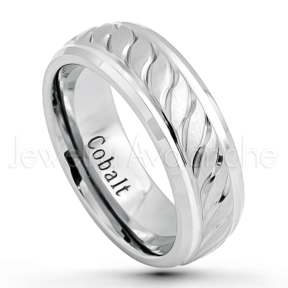 8mm Cobalt Wedding Band – Brushed & Polished Finish Comfort Fit Inside Most Current Polished Comfort Fit Cobalt Chrome Wedding Bands (View 5 of 15)