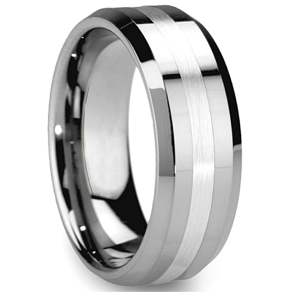 8Mm Hybrid Tungsten Carbide Wedding Band With Satin Center Stripe Inside 2018 Satin Center Bevel Edged Wedding Band In Cobalt (View 4 of 15)