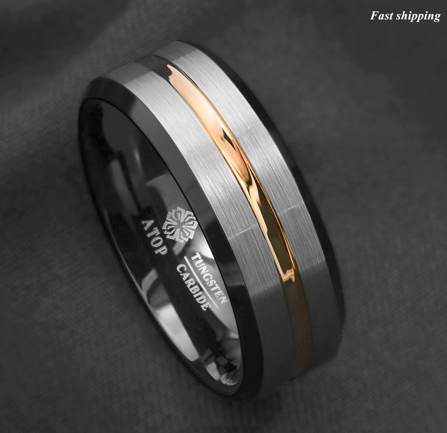 8mm Silver Brushed Black Edge Tungsten Ring Gold Stripe Atop Mens Inside 2018 Tungsten Wedding Bands (View 9 of 15)