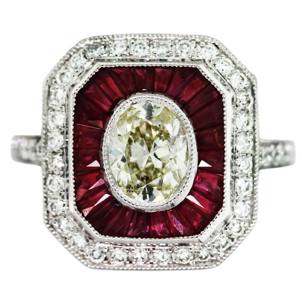 97 Carat Oval Diamond Ruby Platinum Vintage Style Engagement Ring For Recent Vintage Style Ruby And Diamond Rings (View 3 of 15)