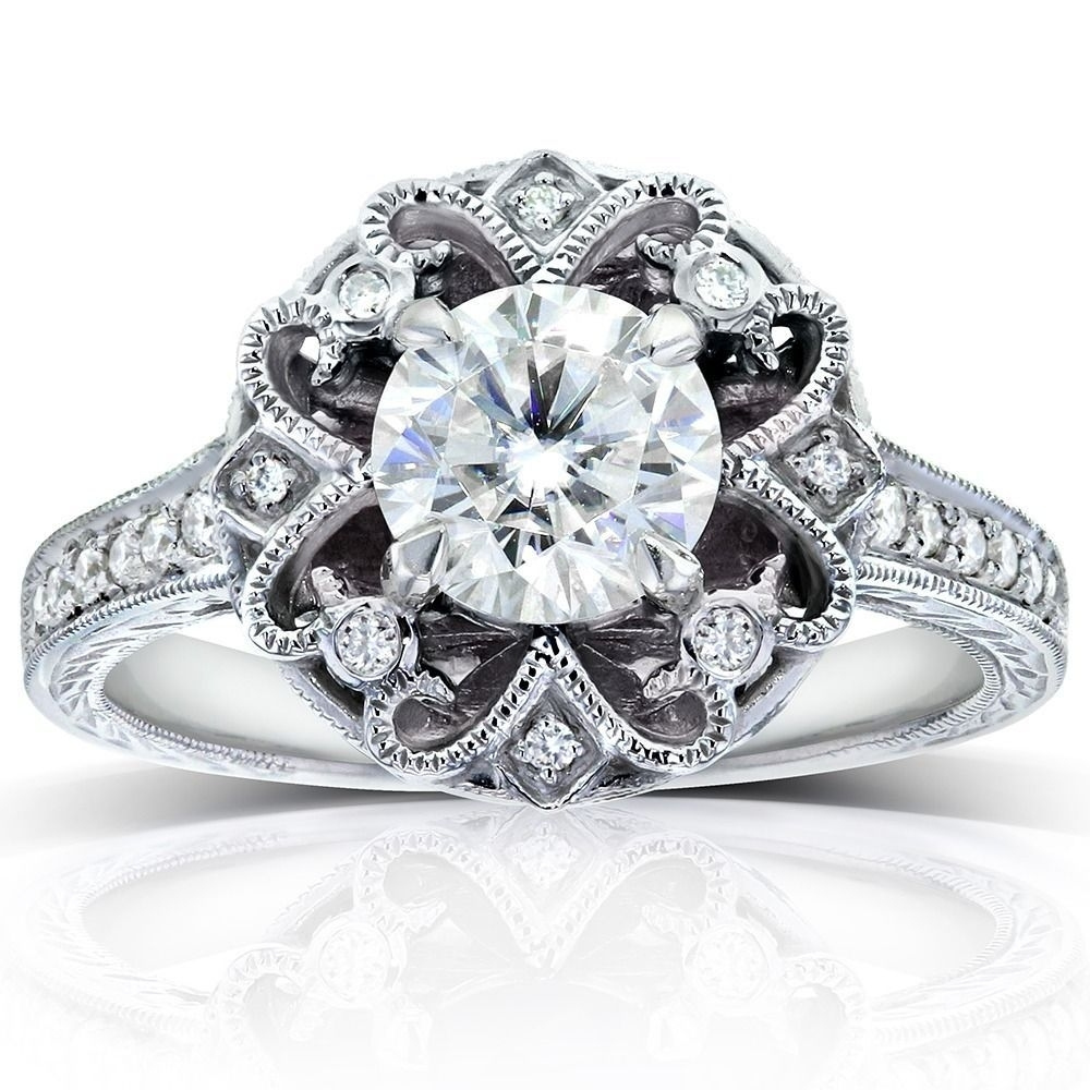 Annellokobelli 14K White Gold 1 1/5Ct Tdw Round Cut Diamond In Latest Diamond Flower Vintage Style Engagement Rings In 14K White Gold (View 2 of 15)