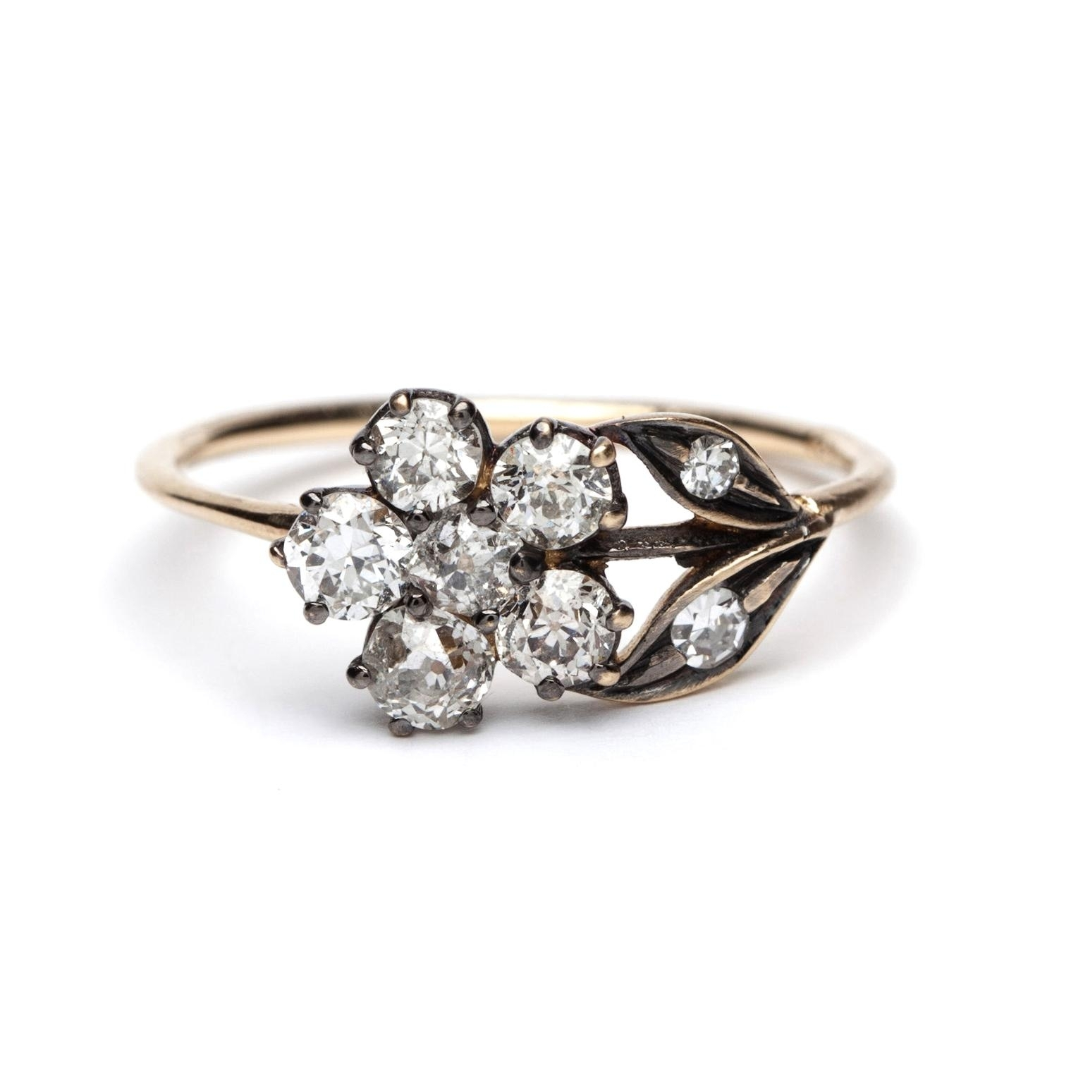 Antique Flower Diamond Engagement Ring | Sofia Kaman | The Jewellery Pertaining To Current Antique Style Diamond Engagement Rings (Gallery 3 of 15)