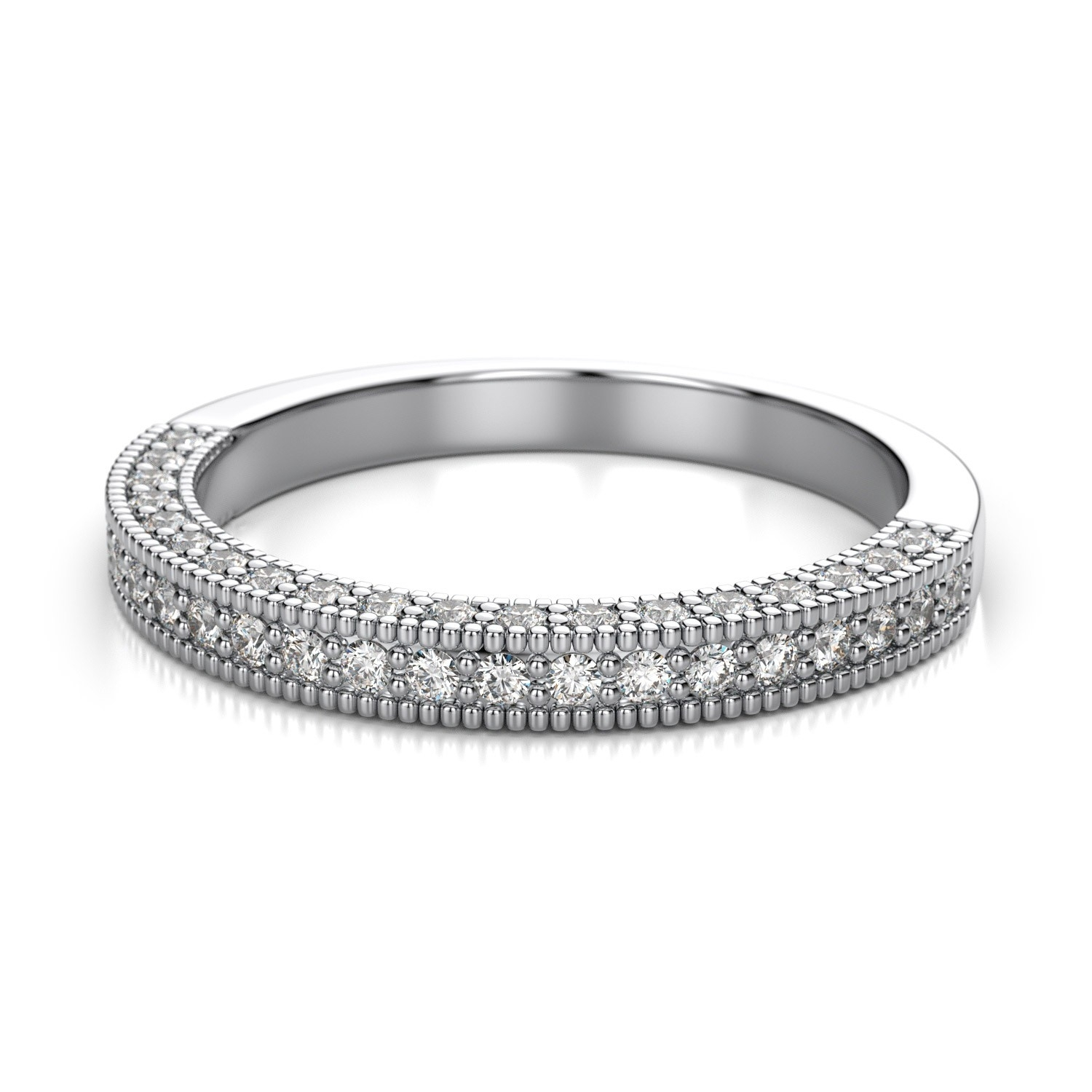 Antique Pave Set Diamond Wedding Band In 14K White Gold ( (View 5 of 15)