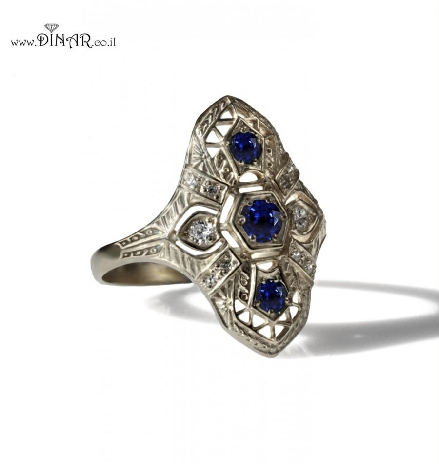 Antique Style Genuine Blue Sapphire Ring, 14K White Gold Edwardian For 2018 Vintage Style Sapphire Engagement Rings (View 1 of 15)