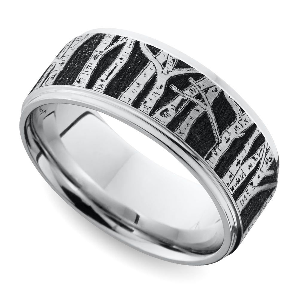 Aspen – Laser Carved Mens Wedding Band | For The Groom & Groomsmen Within Most Current Aspen Tree Comfort Fit Cobalt Wedding Bands (Gallery 1 of 15)