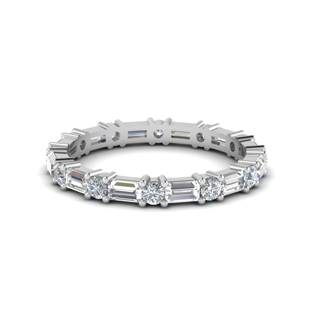 Baguette And Round Diamond Band In 14K White Gold | Fascinating Diamonds Regarding Most Recently Released Round And Baguette Diamond Anniversary Bands In 14K White Gold (View 5 of 15)