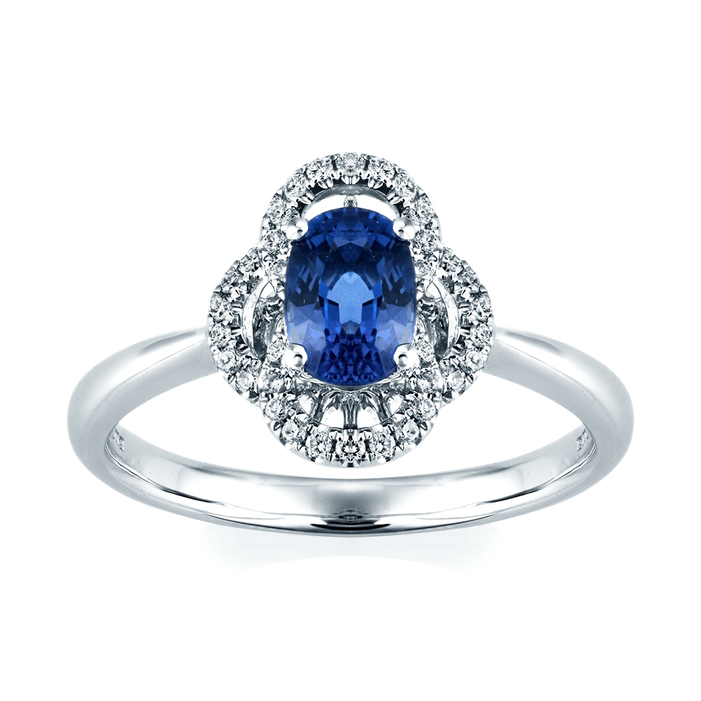 Berry's 18Ct White Gold Sapphire & Diamond Vintage Style Ring With Regard To 2018 Vintage Style Diamond And Sapphire Engagement Rings (View 4 of 15)