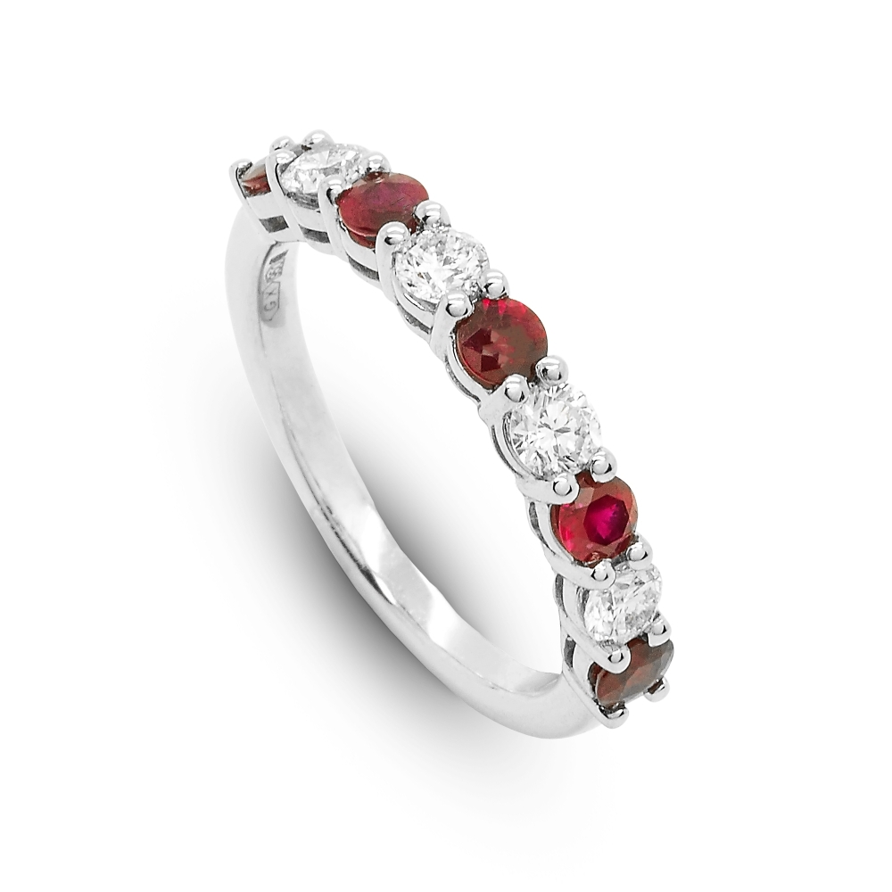 Berry's Platinum Nine Stone Claw Set Ruby & Diamond Half Eternity Ring Throughout Most Recent Ruby And Diamond Eternity Bands In Platinum (Gallery 1 of 15)