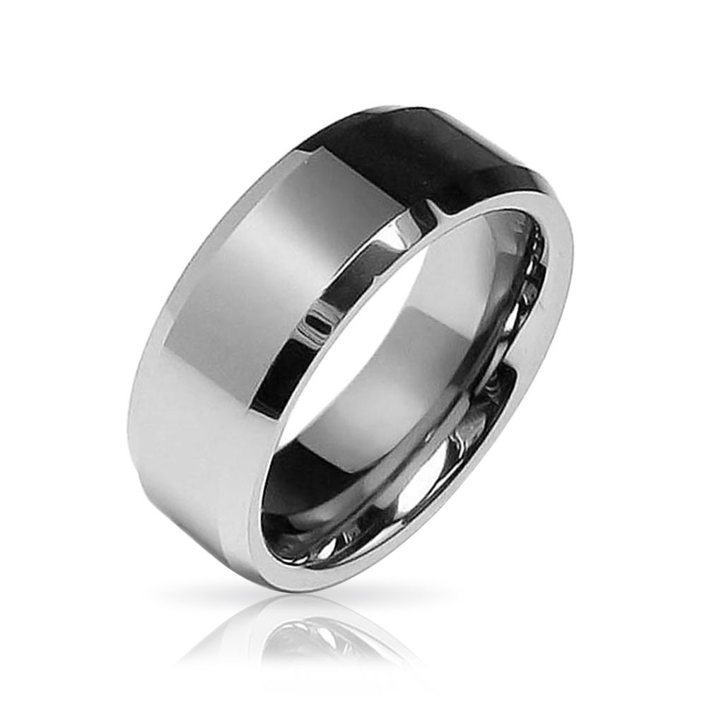 Beveled Edge Center Comfort Fit Tungsten Wedding Band 8mm Intended For 2017 Tungsten Wedding Bands (View 11 of 15)