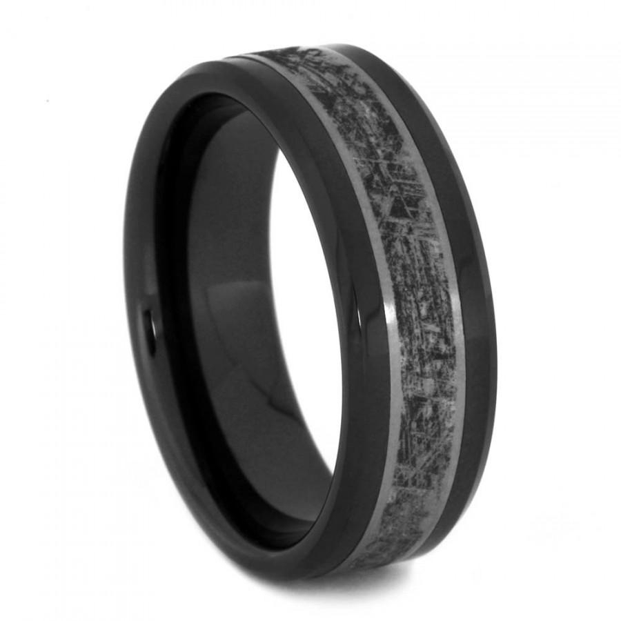 Black Ceramic Wedding Band Titanium Ring With Mimetic Ceramic Ionic Within Current White Ceramic Wedding Bands (View 15 of 15)