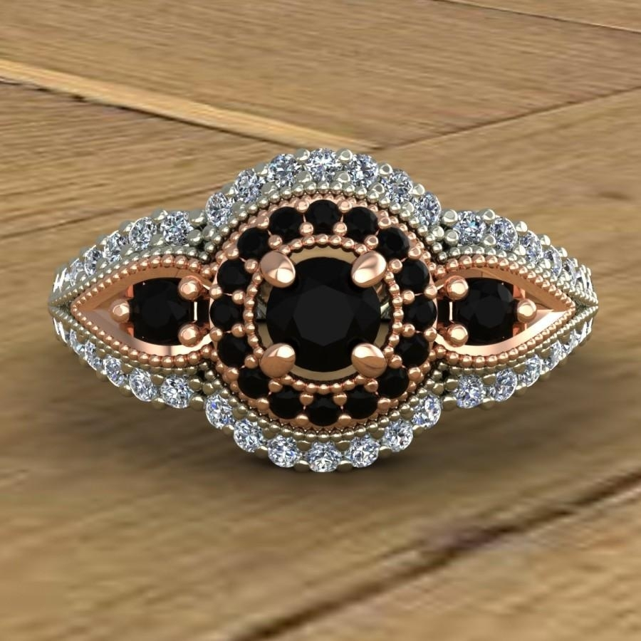 Black Diamond Engagement Ring – Vintage Inspired Milgrain – 14K Rose Intended For Most Recently Released Vintage Style Black Diamond Engagement Rings (View 4 of 15)