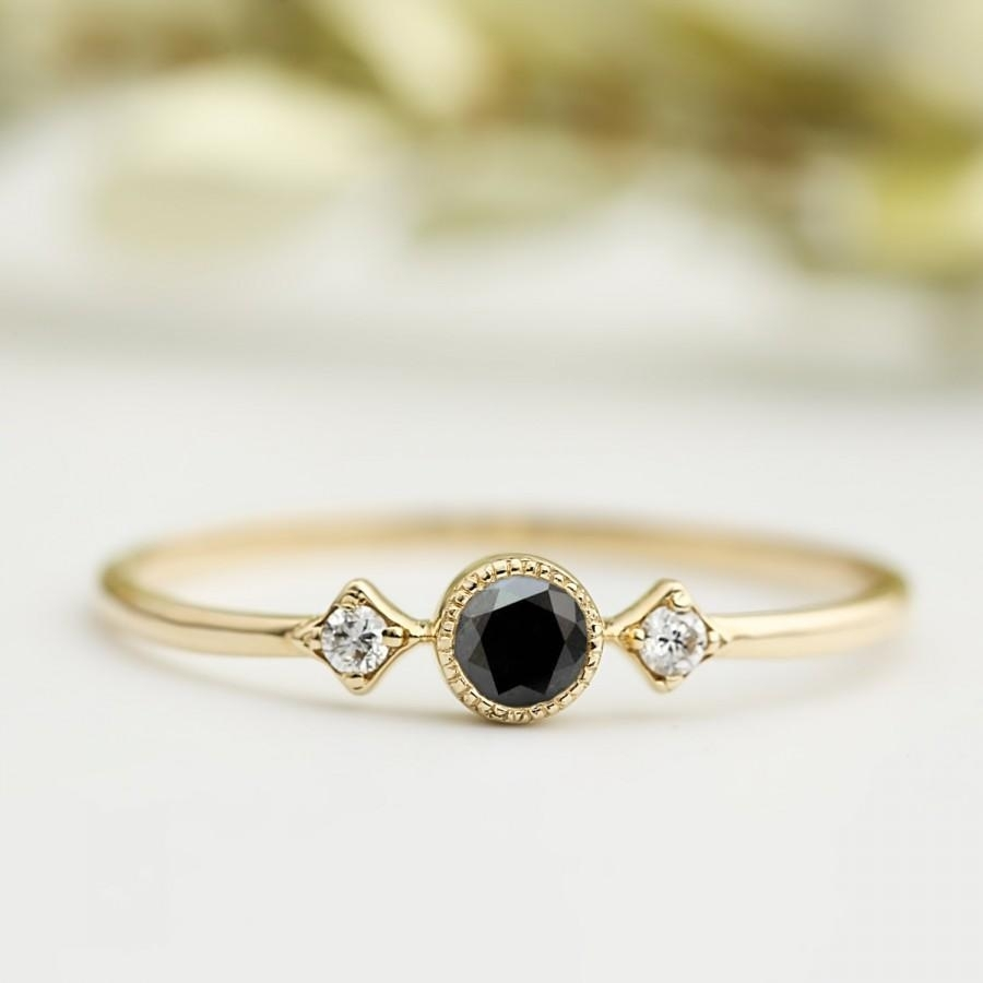 Black Diamond Ring, 3Mm, Unique Black Diamond Engagement Ring Within Most Popular Vintage Style Black Diamond Engagement Rings (View 5 of 15)