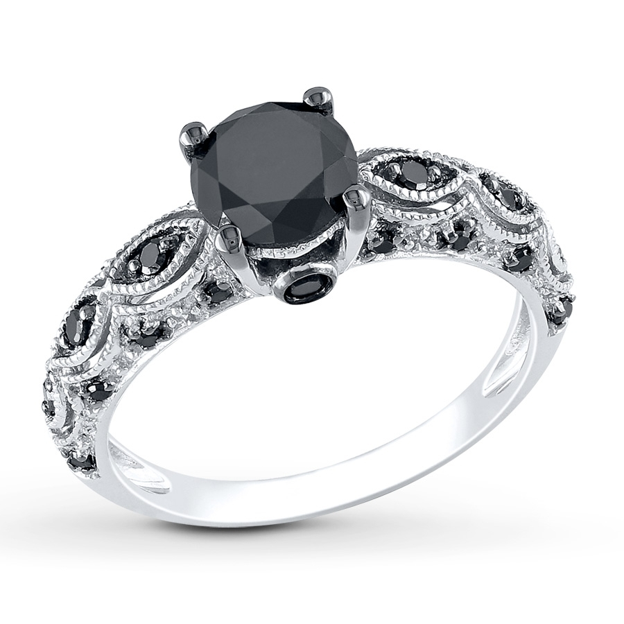 Black Diamond Rings | Wedding, Promise, Diamond, Engagement Rings With Most Recently Released Enhanced Black Diamond Anniversary Bands In 10K White Gold (View 11 of 15)