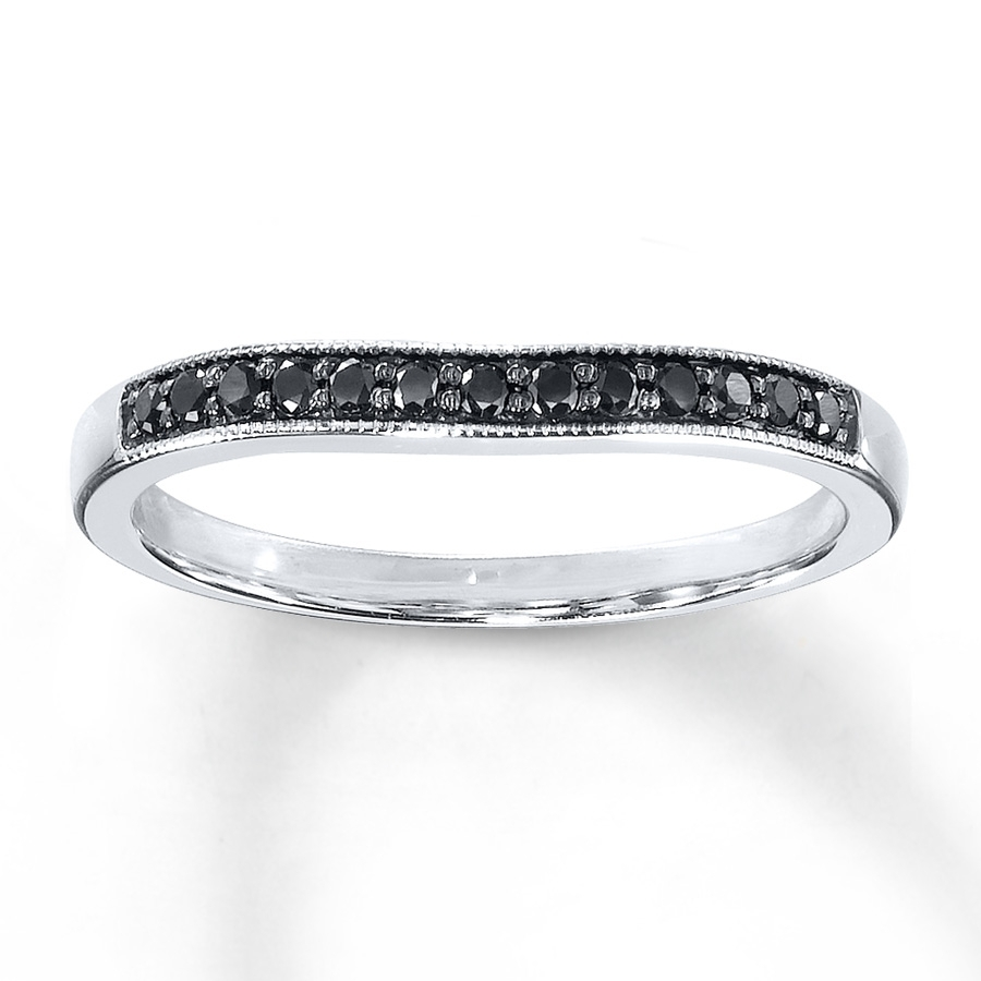 Black Diamonds 1/8 Ct Tw Wedding Band 10K White Gold – 80547021 – Kay Throughout Most Popular Enhanced Black Diamond Anniversary Bands In 10K White Gold (View 12 of 15)