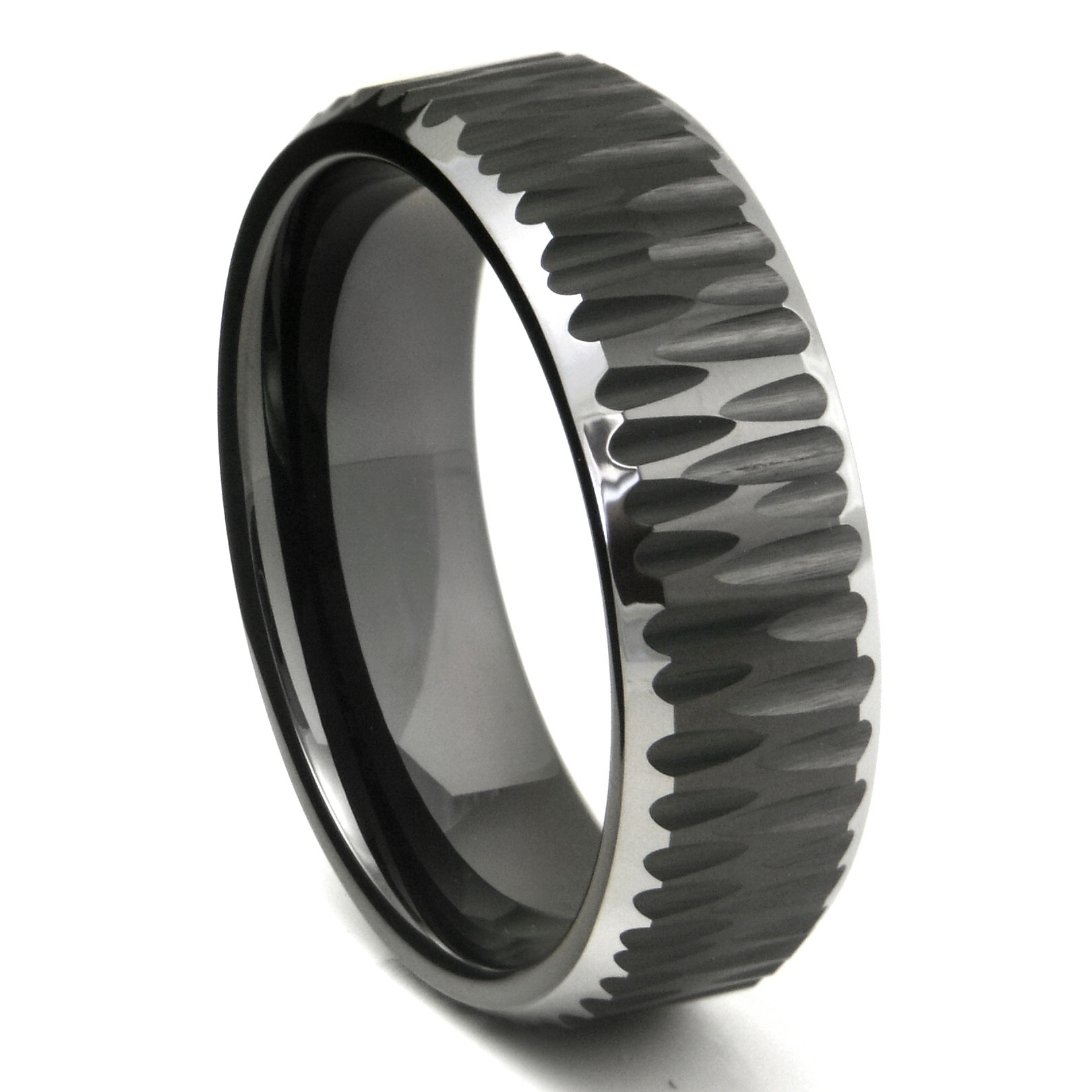Black Tungsten Carbide Hammer Finish Beveled Wedding Band Ring With Regard To Most Popular Tungsten Wedding Bands (View 2 of 15)