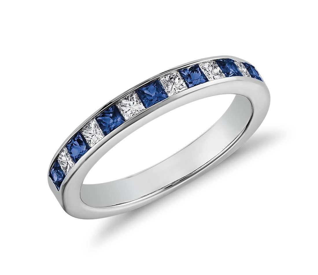 Blue Sapphire And Diamond Rings | Wedding, Promise, Diamond For Most Recent Princess Cut Blue Sapphire And Diamond Five Stone Rings In 14k White Gold (View 14 of 15)