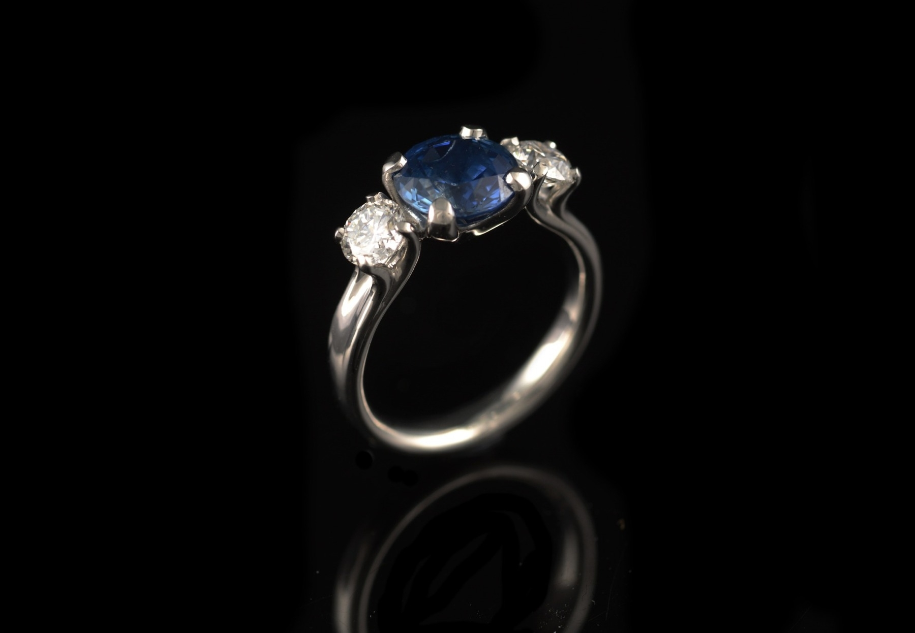 Blue Stone Engagement Rings – Mccaul Goldsmiths Regarding Most Recently Released Diamond Cobalt Three Stone Hammered Rings (View 7 of 15)