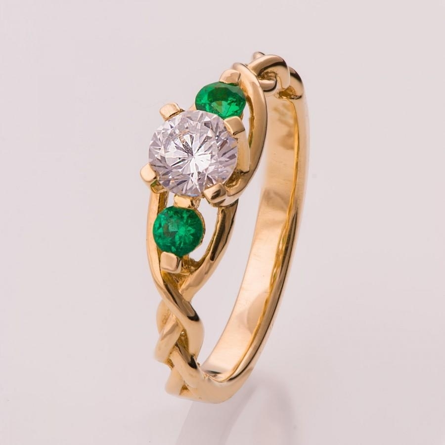 Braided Engagement Ring – Diamonds And Emeralds Engagement Ring For Latest Emerald And Diamond Seven Stone Wedding Bands In 14K Gold (View 7 of 15)
